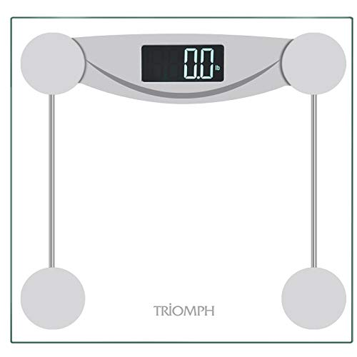- Triomph Smart Digital Body Weight Bathroom Scale with Step-On Technology, LCD Backlit Display, 400 lbs Capacity and Accurate Weight Measurements, Silver (Digital Scale New)