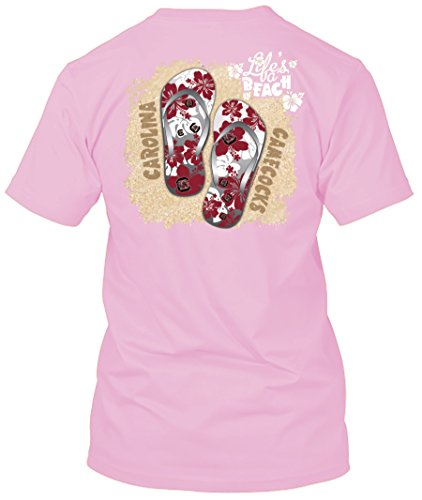 (New World Graphics NCAA Life's a Beach T Shirt - Multiple Universities and Colors Available - Up to 2X and 3X (South Carolina Gamecocks - Pink, Large))