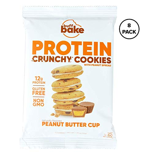 Buff Bake Protein Sandwich Cookie | Peanut Butter Cup | Crunchy | Gluten Free | Non-GMO Ingredients | 12g of Hormone-Free Whey Protein | (8Count, 1.79 oz) (Best No Bake Cookies With Peanut Butter)