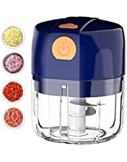 Electric Garlic Chopper - HaiZR 250ML Wireless Portable Mini Garlic Mincer with 3 Stainless Steel Blades Powerful Food Blender/USB Charging Small Food Processor Grinder for Fruit, Onion, Peanut, Ginger, Chili, Meat, Vegetable ( Blue)