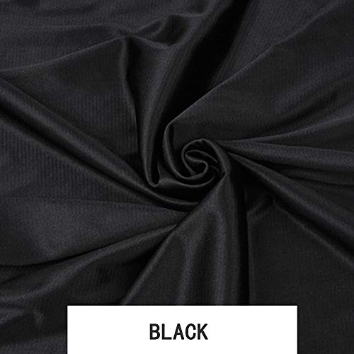 Knit Fabric, High Gloss Stretch Cloth, Polyester Material, for Clothing Dress Skirt Costume Lining, Largeur 67 pouces (1,7 m),Black,5.46Yards(16.4Ft) ()