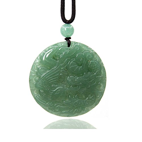 Aventurine Gemstone Dragon and Phoenix Amulet Charm Pendant Necklace 20""