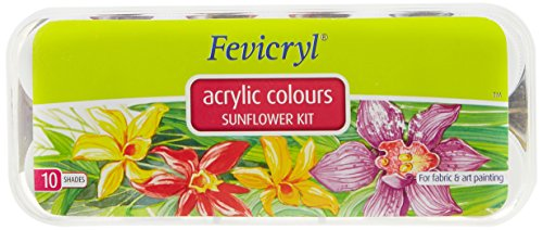 Fevicryl Acrylic Colors, Sunflower Kit, 10 Shades by Fevicryl