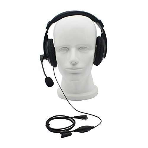 GoodQbuy® Professional Noise Cancelling Radio Overhead Headsets Headphones with VOX-PTT Boom Mic for 2 Pin Kenwood Baofeng UV-5R Puxing Quansheng Wouxun HYT Nexedge Puxing two way radio (Radio Wouxun)