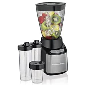 Hamilton Beach (52400) Blender with 32 Oz Jar, For Shakes & Smoothies, 2 Personal Single Serve 16 Oz Jars & 8 Oz Chopper, Electric, Black
