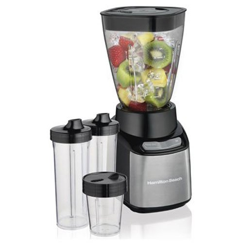 Hamilton Beach Stay or Go Blender with 32-Oz Jar, 2 Personal Single Serve 16-Oz Jars & 8-Oz Chopper, Black (650w Motor)
