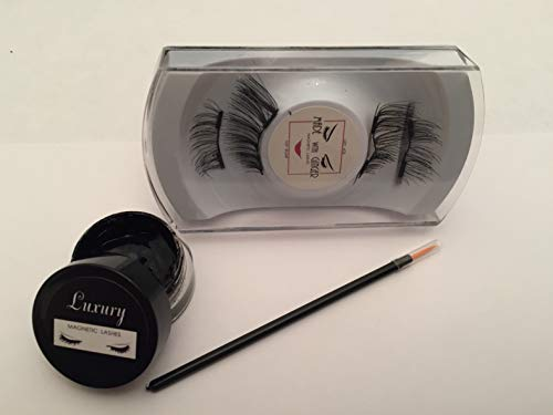 Black CATEYE 3/4 Inch 2 Magnet Luxury Magnetic False Eyelash and Magnetic Eyeliner Combo Set ()