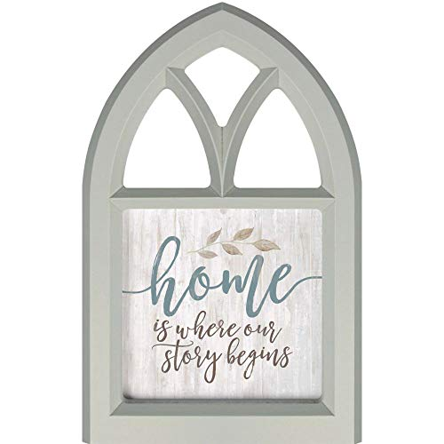 P. Graham Dunn Home is Where Our Story Grey 11 x 7 Wood Decorative Tabletop Window Plaque (Story Home Sign Is Where Your Begins)