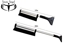 Extendable Telescoping Snow Brush - Ice Scraper for Car, Retracts From 24\