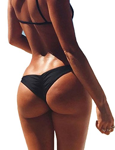 3-5 Days Delivery Sexy Lady Brazilian V-Style Ruched Ruffle Cheeky Bikini Bottom Thong
