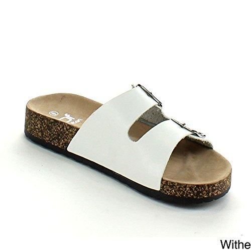 Betani Harper-2 Women Double Strap Cork Gladiator Sandal Slip On Shoes,White,7.5