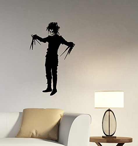 Edward Scissorhands Wall Art Decal 90s Movie Vinyl Sticker Decorations for Home Room Office Gothic Decor Ideas - Amazon Depp Johnny Glasses