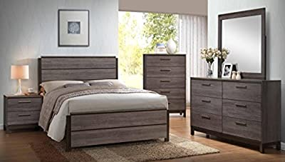 Kings Brand Antique Grey Wood Bedroom Set. Bed, Dresser, Mirror, Chest & 2 Night Stands from Kings Brand Furniture