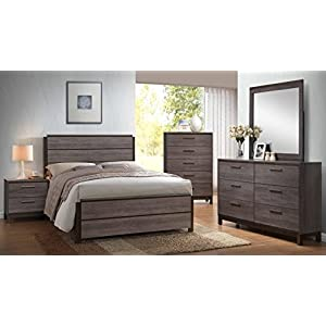 Kings Brand Furniture – 6-Piece Antique Grey Wood Queen Size Bedroom Set. Bed, Dresser, Mirror, Chest & 2 Night Stands