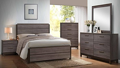 Kings Brand - 6-Piece Antique Grey Wood Queen Size Bedroom Set. Bed, Dresser, Mirror, Chest & 2 Night ()