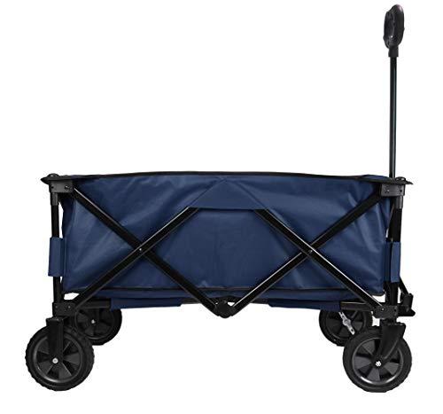 Patio Watcher Collapsible Folding Wagon Utility Wagon Cart Outdoor Garden Camping Wagon Sports Wagon Heavy Duty, Blue