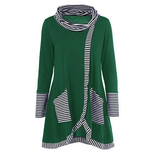 Fun1980s Women's Warm Long Sleeves Striped Print Patchwork Pockets Neck Splice Geometric Pattern Pullover Coat Sweatshirts Outwear
