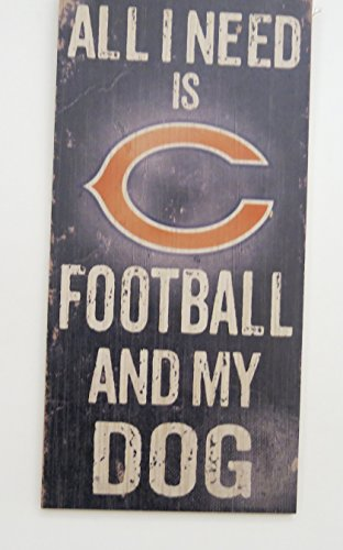 [Chicago Bears, wall decor, dog theme, all need is my team and my dog.] (Hunter Wood Sign)
