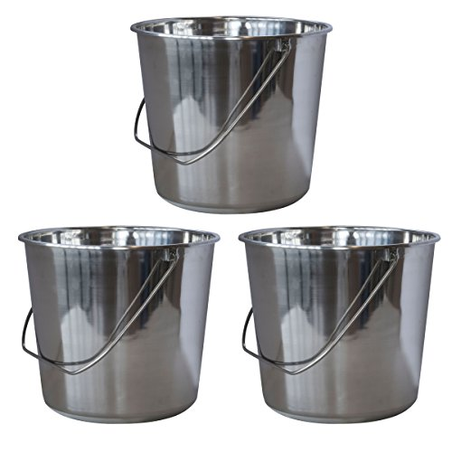 (SSB237SET Medium Stainless Steel Bucket Set - 3Piece)