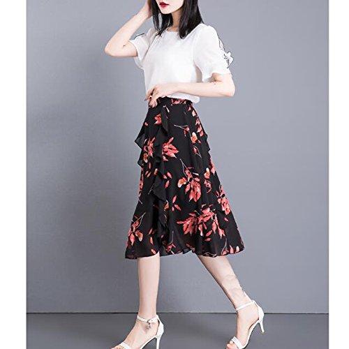 Plus Jupes Femmes Jupe Sexy Lady Plisse Taille En Taille Black2 Bohme vase Soie De Jupes Imprim Fleur lastique Mode Mousseline La Plage gOrgp