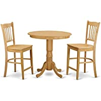 East West Furniture JAGR3-OAK-W 3 Piece High Top Table and 2 Bar Stools Set