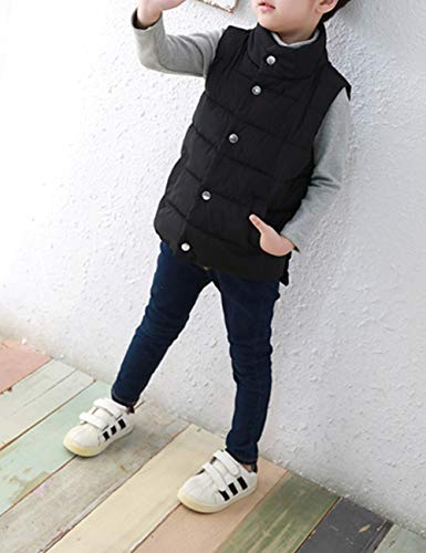Vests Children Outdoor Wear Vest Autumn Black Casual Overcoat Button Winter BESBOMIG Jacket Coat for Down Sleeveless Kids wzfCqf