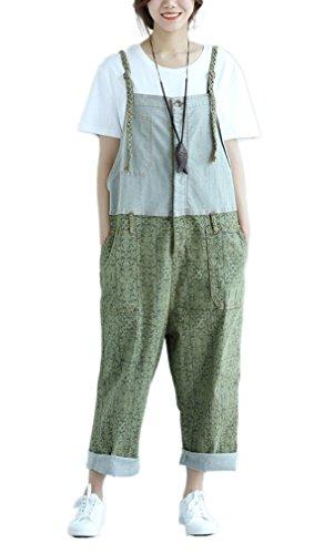 Soojun Women's Loose Fit Pattern Denim Bib Overalls Shorts Summer 6 Green, US S-L -