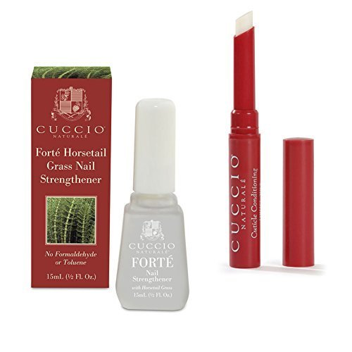 Bundle of 2 items: Cuccio Naturale Cuticle Conditioning Butter Stick in Pomegranate & Fig and Forte Horsetail Grass Nail Strengthener