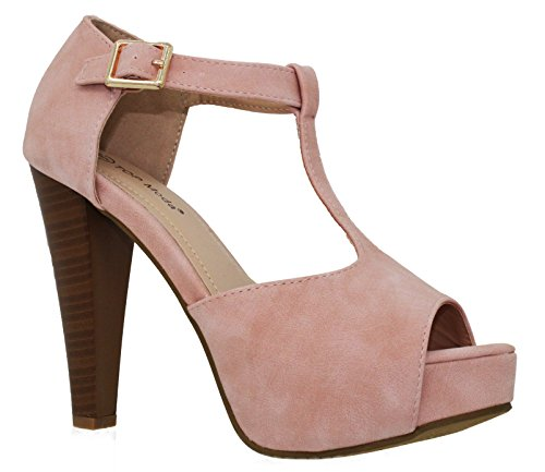 MVE Shoes Open Toe Ankle Strap High Heel Sandal, Blush Size 9