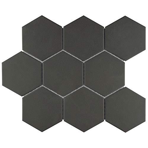 (SomerTile FXLG4HBK Antique Super Hex Unglazed Porcelain Mosaic Floor and Wall Tile, 10