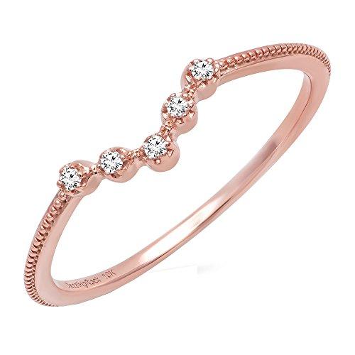 Dazzlingrock Collection 0.05 Carat (ctw) 14K Round Diamond Ladies Five Stone Chevron Wedding Band, Rose Gold, Size 6