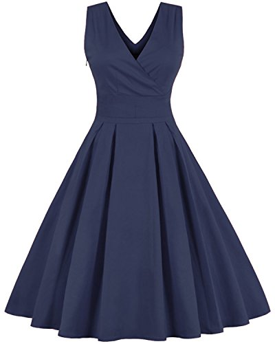 Women V neck Sleeveless Pleated Vintage Midi A-line Dress Tempt me Navy Blue XL