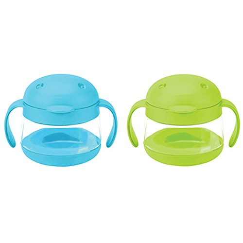Ubbi cute BPA-free twin pack tweat snack container with attached lid and soft spill-proof guard, Blue/Green