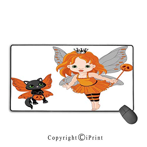 Extended gaming mouse pad with stitched edges,Halloween,Halloween Baby Fairy and Her Cat in Costumes Butterflies Girls Kids Room Decor Decorative,Multicolor,Ideal for Desk Cover, Computer Keyboard, PC]()