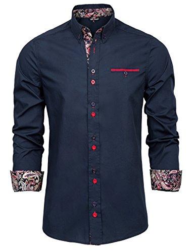 PAUL JONES Mens Casual Cotton Shirt Long Sleeve Slim Fit Dress Shirt S Navy Blue ()