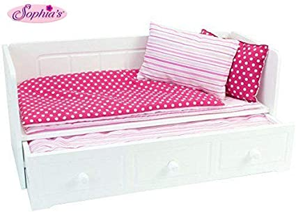 Amazon Com 18 Inch Doll Furniture White Day Bed With Trundle And Bedding Fits 18 Inch American Girl Dolls More Doll Day Bed With Trundle Toys Games