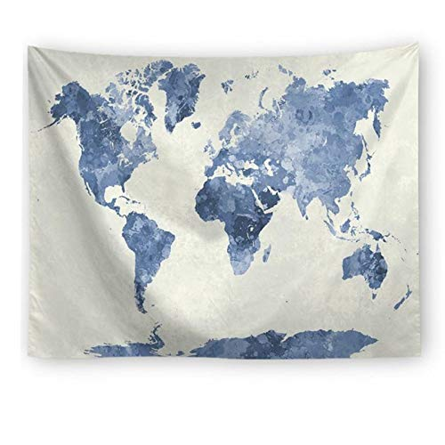 Blue Watercolor World Map Tapestry Abstract Splatter Painting Tapestry Wall  Hanging Art for Living Room Bedroom Dorm Home Decor