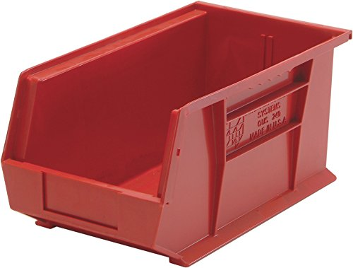 Aviditi BINP1487R Plastic Stack and Hang Bin Boxes, 14 3/4'' x 8 1/4'' x 7'', Red (Pack of 12)