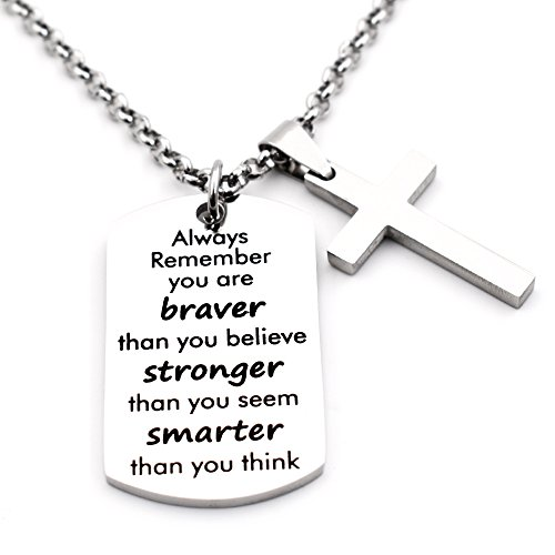 N.egret Necklace Chain Cross Pendant Inspirational Jewelry Quotes Gift for Girl Teen Daughter men Birthday (Stronger)