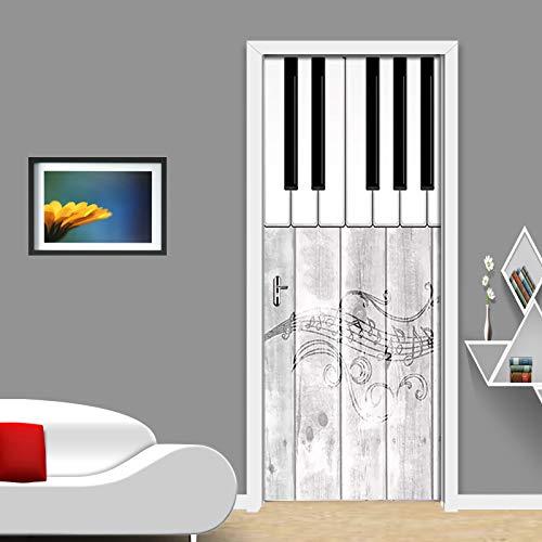 LHMTZ Papel Tapiz De Puerta 3D Música De Piano Nórdico ...