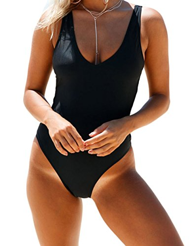 YeeATZ Women Sexy Black Strappy Sides One Piece Monokini Beachwear (Cheerleader Piece Toddler One Dress)