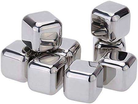CINY 8 cubos de hielo de acero inoxidable, cubitos de hielo reutilizables con pinzas y caja de almacenamiento, Juego de regalo de piedras de whisky para cócteles de ginebra de vino, jugo de frutas