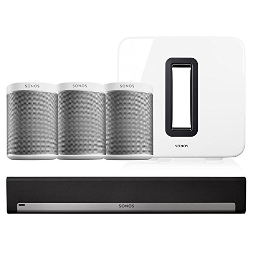 Sonos Entertainment Set with Play:1 Wireless Streaming Speakers, Playbar, & Sub (White)