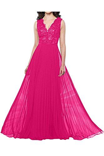 Ausschnitt Partykleider Spitze 2018 Neu V Festlich Promkleider Pink Linie Damen A Charmant Abendkleider cI1WnU1x