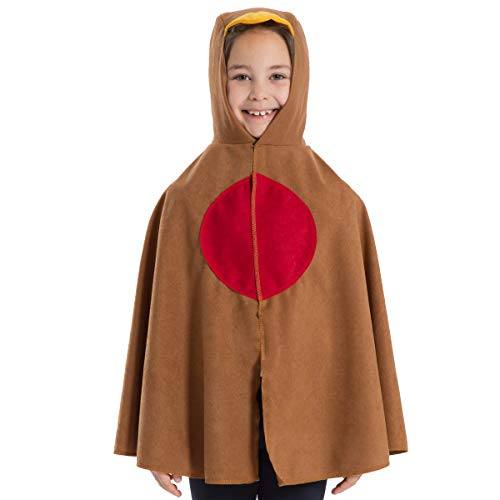 Charlie Crow Robin red Breast Cape Costume for Kids. One Size. Fits 3-8 Years.
