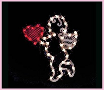 VALENTINES DAY LIGHTED CUPID HEART WINDOW DECORATION ()