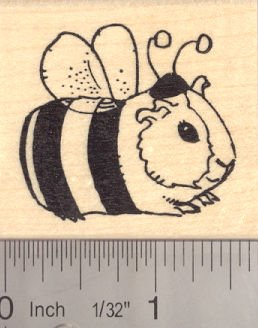 Guinea Pig in Halloween Costume (Bee) Rubber Stamp