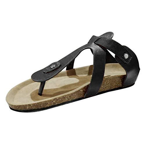 Bohelly ♚♚ Women's Solid Roman Flip-Flops Cork Flats Slippers Buckle Strap Summer Outdoor Beach Shoes Slippers -