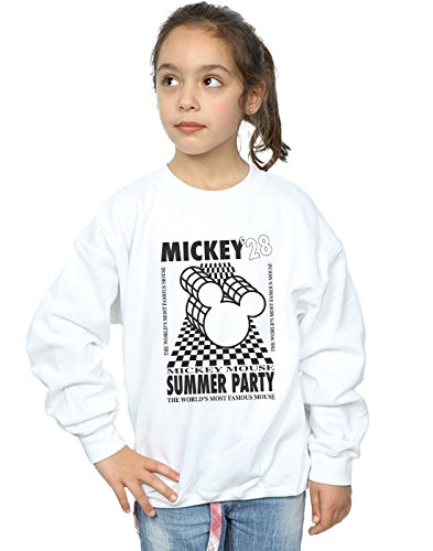 Disney Girls Mickey Mouse Summer Party Sweatshirt White 5-6 Years by Absolute Cult