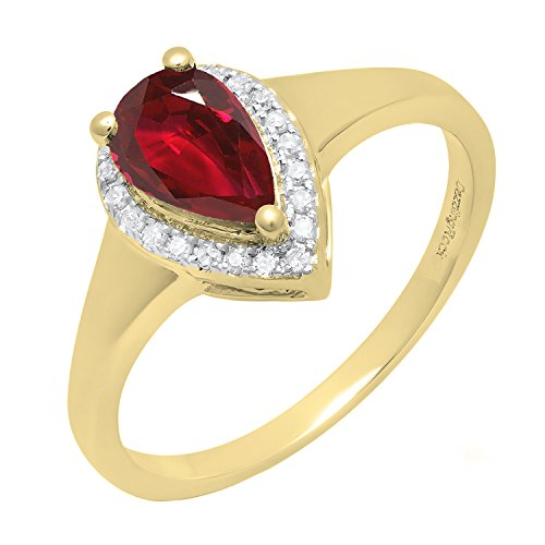 Dazzlingrock Collection 10K 8X5 MM Pear Lab Created Ruby & Round Diamond Ladies Ring, Yellow Gold, Size 6